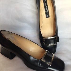 Via Spiga Black Block Heel Shoes